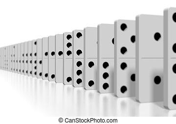 -, foco, selectivo, dominós, blanco, 3d