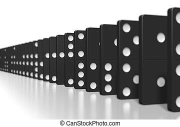 -, foco, selectivo, negro, dominós, 3d