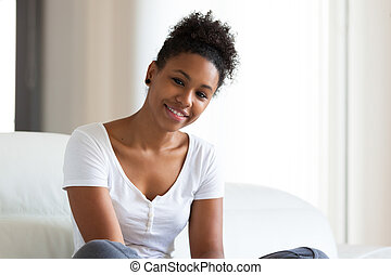 -, folk, svart, vacker, stående, kvinna, afrikansk amerikan