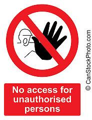 -, fond, non autorisé, personnes, isolé, prohibition, signe, blanc rouge, accès, non