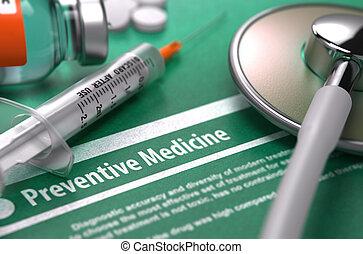 -, fondo., verde, stampato, diagnosi, medicina, preventivo