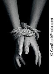 -, fotografia, ludzki, trafficking, pojęcie