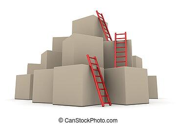 -, fournée, haut, échelles, boîtes, lustré, montée, rouges