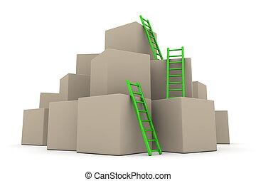 -, fournée, haut, échelles, boîtes, vert, lustré, montée