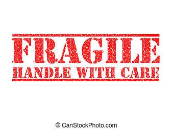 -, frágil, punho, cuidado
