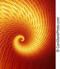 -, fractal, frenesí, caliente