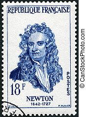 -, franciaország, portré, (1642-1727), látszik, isaac newton, arcképek, 1957: