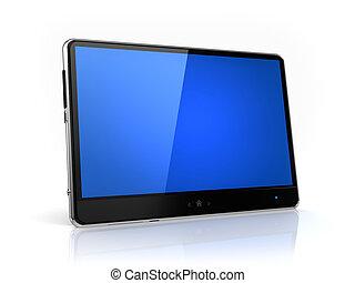 -, freigestellt, schirm, eigen, blaues, design, modern, tablette