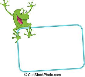 -, freudig, frosch, etikett