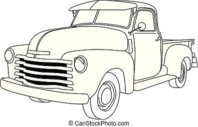 -, front-side, pickupen, synhåll, amerikan, gammal, tonarm transportera, reto, bil