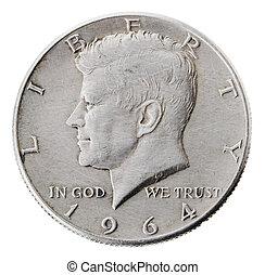 -, frontal, kennedy, dólar, cabezas, plata, mitad
