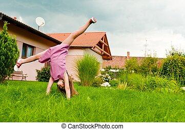 -fun, jardín, voltereta lateral