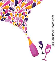 -, fundo, funky, 3, vinho