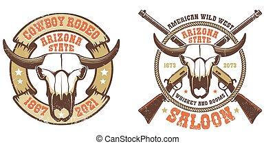 -, fusils, occidental, buffle, retro, traversé, crâne, logo