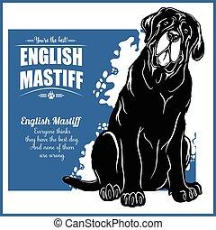 -, gabarit, anglaise, insignes, vecteur, logo, mastiff, t-...