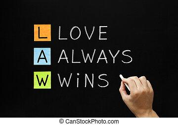 -, gagne, droit & loi, amour, always