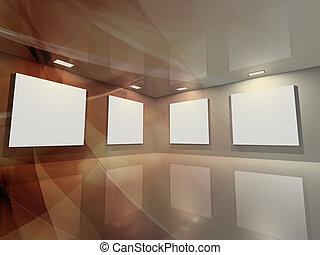 -, galleri, brons, virtuell