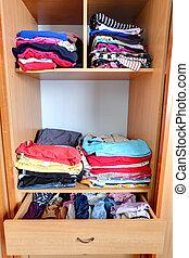 -, garderobe, wandschrank, kleidung