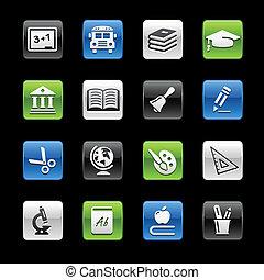 --, gelbox, iconos, educación, serie