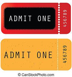 -, gele, een, toelaten, ticket, rood