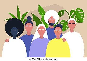 -, gemeinschaftsunterstützung, leute, afrikanisch, junger, freundschaft, kaukasier, indische , verschieden