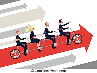 -, gens, joint, vélo, ensemble, vélo, équipe, business, flèche, équitation, tandem