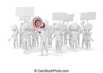 -, gente, 3d, hombre, grupo, protestar