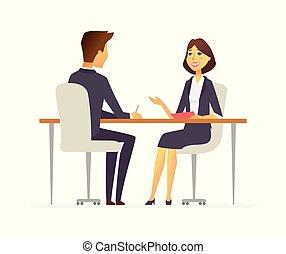 -, gente, entrevista de trabajo, aislado, caricatura, ...