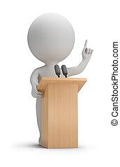 -, gente, pequeño, oratoria, 3d