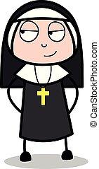 -, gesicht, nonne, vektor, illustration?, dame, karikatur, schlau