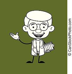 -, geste, projection, gynécologue, tenue, docteur, liste contrôle, main