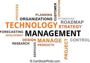 -, gestion, mot, nuage, technologie