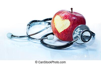 -, gezondheid, concept, liefde, appel
