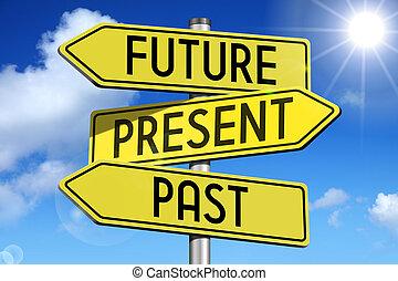 -, giallo, presente, passato, roadsign, futuro