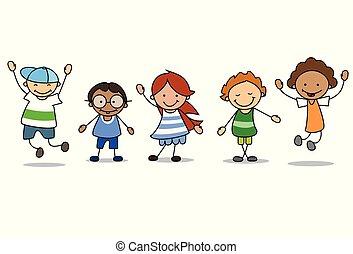 -, gioco, ragazze, ragazzi, bambini, felice, illustrazione, bambini