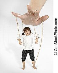 -, girl, marionnette, enfant