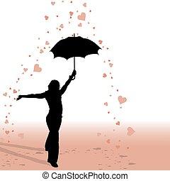 -, girl, parapluie, pluie, cœurs
