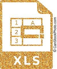-, glitzer, tabellenkalkulation, gold, ikone, datei