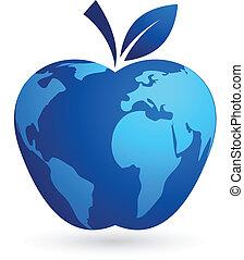 -, globale, verden, æble, landsby