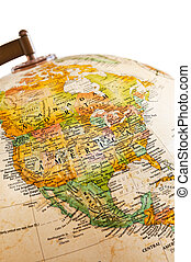 -, globe, amerika, noorden