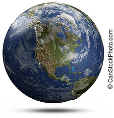 -, globe terre, amérique, nord