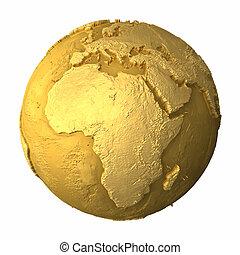 -, globo, africa, oro