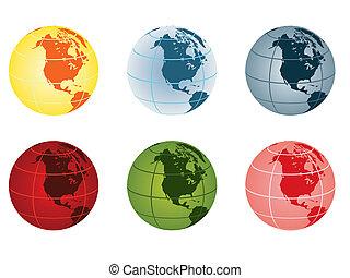 -, globo, américa, norte