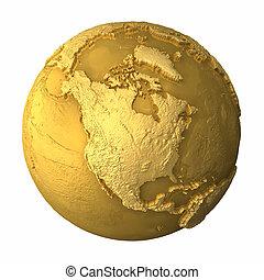 -, globo, américa, norte, oro