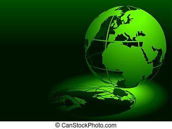 -, globo, verde, 3d