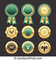 -, gold, medaillen, auszeichnung, preis, abzeichen, grün, rosetten