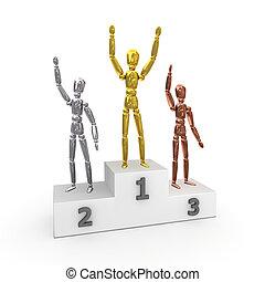 -, gold, podium, gewinner, sieg, silber, bronze