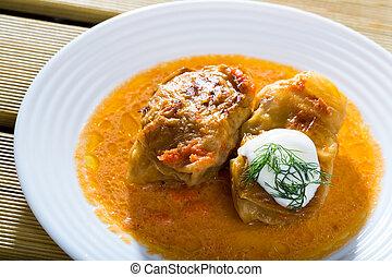 -, golubtsy, este, cocina, plato, europeo