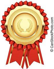 -, gouden, medaille, toewijzen, rozet