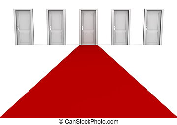 -, grå, fem, dörrar, röd matta